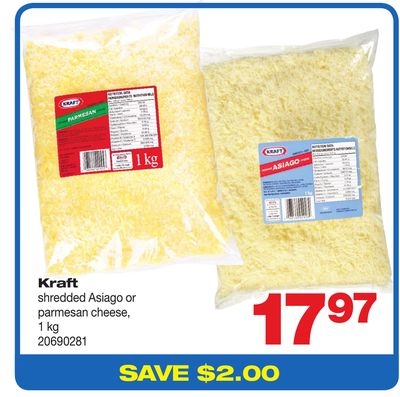 Kraft Shredded Asiago Or Parmesan Cheese - 1 Kg