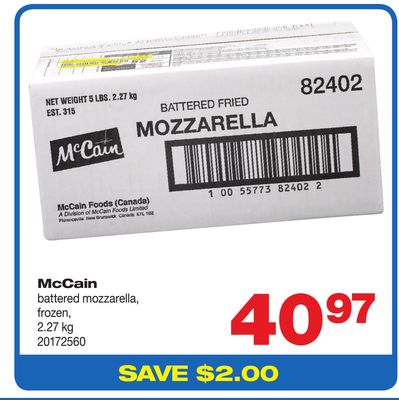 Mccain Battered Mozzarella - 2.27 Kg
