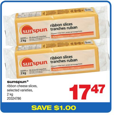 Sunspun Ribbon Cheese Slices - 2 Kg