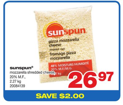 Sunspun Mozzarella Shredded Cheese - 2.27 Kg