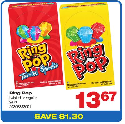 Ring Pop Twisted Or Regular - 24 Ct