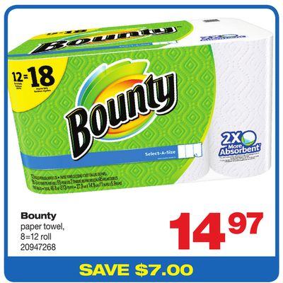 Bounty Paper Towel - 8=12 Roll