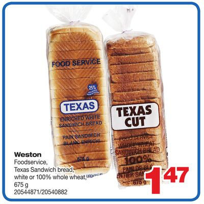 Weston Foodservice - Texas Sandwich Bread - White Or 100% Whole Wheat - 675 g