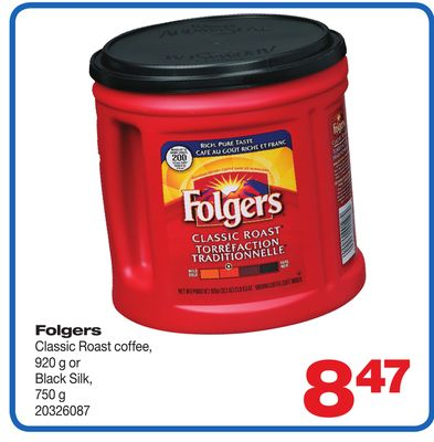 Folgers Classic Roast Coffee - 920 g Or Black Silk - 750 g