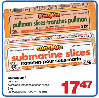 Sunspun Pullman - Swiss Or Submarine Cheese Slices - 2 Kg