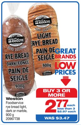Weston Foodservice Rye Bread Light - 900 G