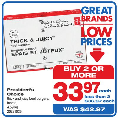 President's Choice Thick And Juicy Beef Burgers - 4.59 Kg