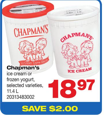 Chapman's Ice Cream Or Frozen Yogurt - 11.4 L