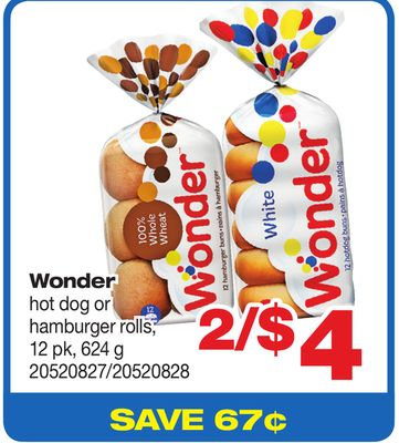 Wonder Hot Dog Or Hamburger Rolls - 12 Pk - 624 g