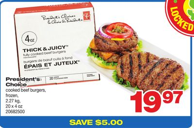 President's Choice Cooked Beef Burgers - 2.27 Kg
