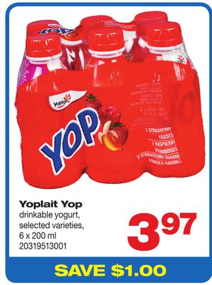 Yoplait Yop Drinkable Yogurt - 6 X 200 ml