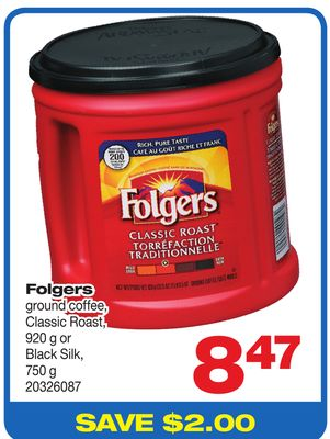 Folgers Ground Coffee - Classic Roast - 920 g Or Black Silk - 750 g