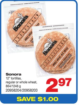 Sonora 12'' Tortillas - Regular Or Whole Wheat - 864/1248 G