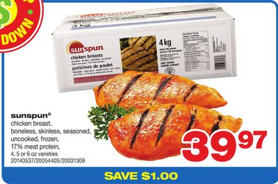 Sunspun Chicken Breast - Boneless - Skinless - Seasoned - Uncooked - Frozen - 17% Meat Protein - 4 - 5 Or 6 Oz Varieties