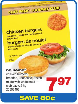 No Name Chicken Burgers - Breaded - Uncooked - Made With White Meat Club Pack - 2 Kg
