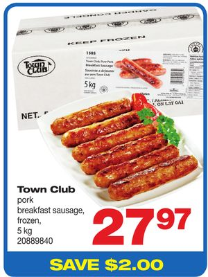Town Club Pork Breakfast Sausage - 5 Kg