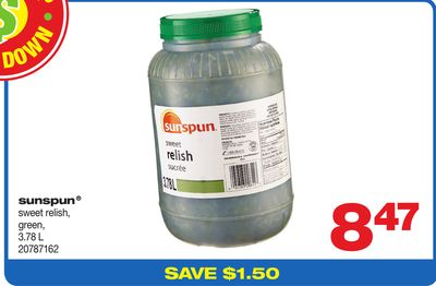 Sunspun Sweet Relish - Green - 3.78 L