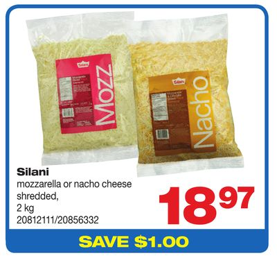 Silani Mozzarella Or Nacho Cheese Shredded - 2 Kg