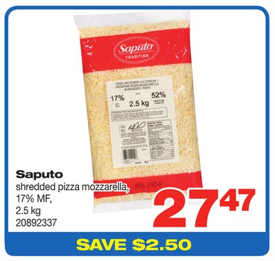 Saputo Shredded Pizza Mozzarella - 17% Mf - 2.5 Kg