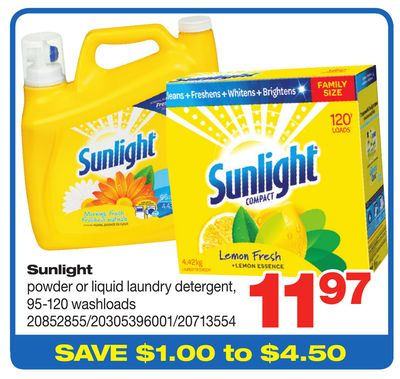 Sunlight Powder Or Liquid Laundry Detergent - 95-120 Washloads