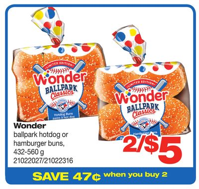 Wonder Ballpark Hotdog Or Hamburger Buns - 432-560 g