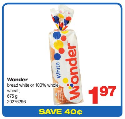 Wonder Bread White Or 100% Whole Wheat - 675 G
