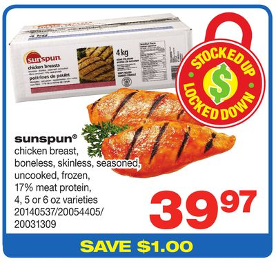 Sunspun Chicken Breast - Boneless - Skinless - Seasoned - Uncooked - 17% Meat Protein - 4 - 5 or 6 Oz Varieties