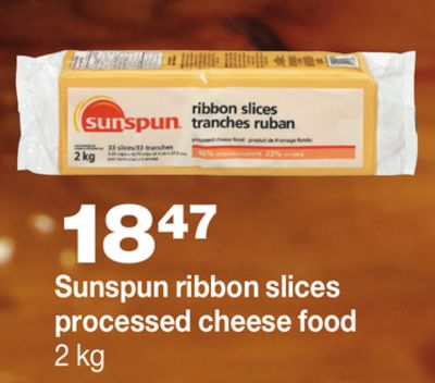 Sunspun Ribbon Slices Processed Cheese Food - 2 Kg