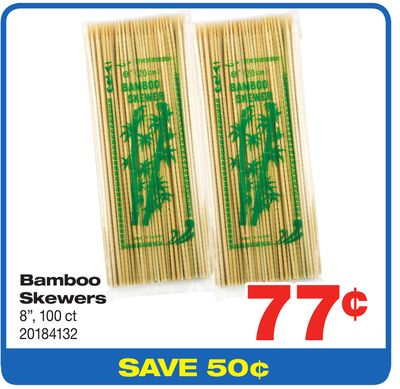 Bamboo Skewers - 8'' - 100 Ct