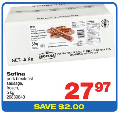 Sofina Pork Breakfast Sausage - 5 Kg