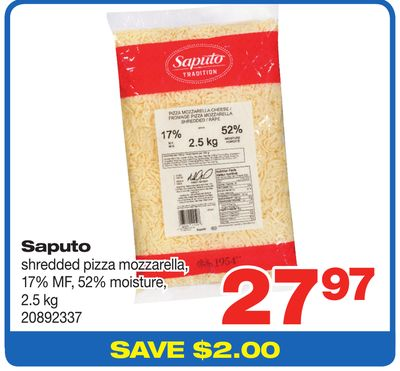 Saputo Shredded Pizza Mozzarella - 17% Mf - 52% Moisture - 2.5 Kg