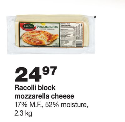 Racolli Block Mozzarella Cheese - 2.3 Kg