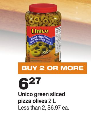 Unico Green Sliced Pizza Olives - 2 L