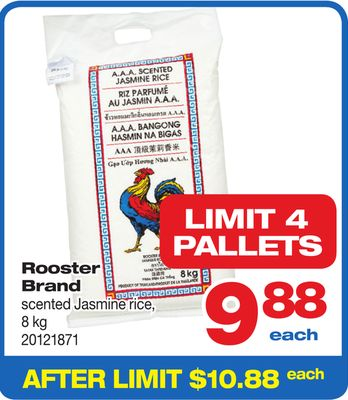 Pallets Rooster Brand Scented Jasmine Rice - 8 Kg