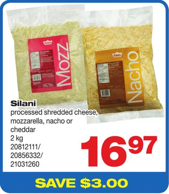 Silani Processed Shredded Cheese - Mozzarella - Nacho Or Cheddar - 2 Kg