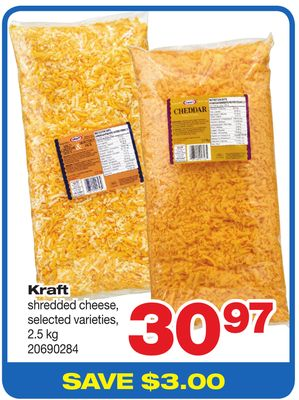 Kraft Shredded Cheese - 2.5 Kg