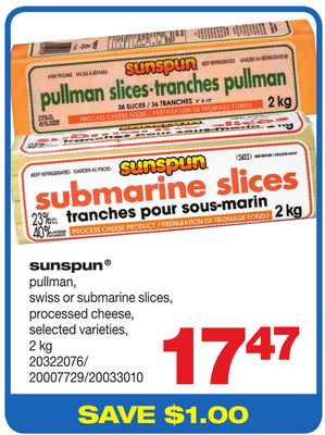 Sunspun Pullman - Swiss Or Submarine Slices - Processed Cheese - 2 Kg