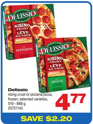 Delissio Rising Crust Or Pizzeria Pizza - Frozen - 519 - 888 g