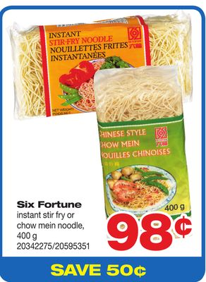 Six Fortune Instant Stir Fry Or Chow Mein Noodle - 400 g