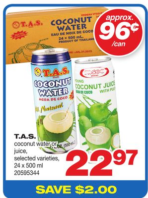 T.a.s. Coconut Water Or Juice - 24 X 500 ml