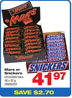 Mars Or Snickers Chocolate Bars - 48 X 52 g