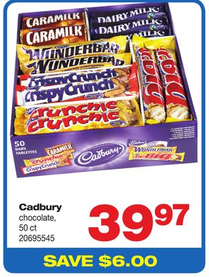 Cadbury Chocolate - 50 Ct