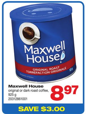 Maxwell House Original Or Dark Roast Coffee - 925 g