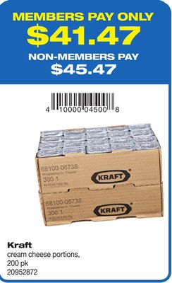 Kraft Cream Cheese Portions - 200 Pk