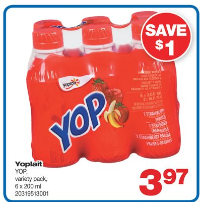 Yoplait Yop - 6 X 200 ml