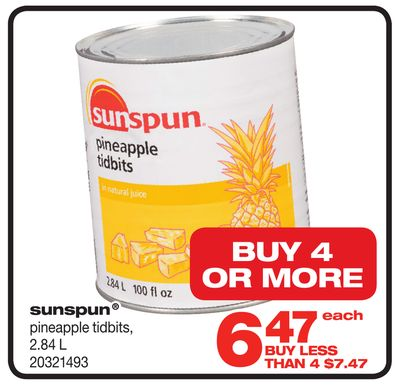 Sunspun Pineapple Tidbits - 2.84 L