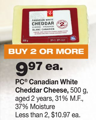 PC Canadian White Cheddar Cheese - 500 g