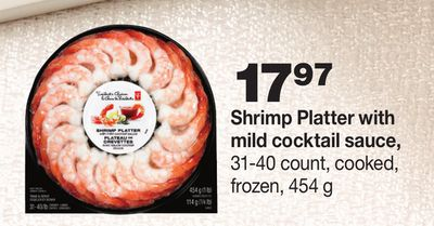 Shrimp Platter With Mild Cocktail Sauce - 31-40 Count - Cooked - 454 g