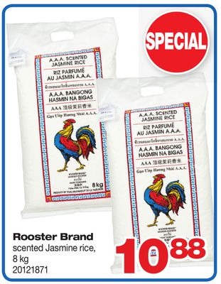 Rooster Brand Scented Jasmine Rice - 8 Kg