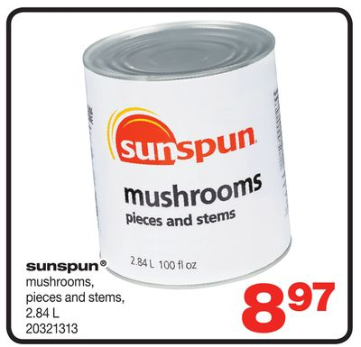 Sunspun Mushrooms - Pieces And Stems - 2.84 L